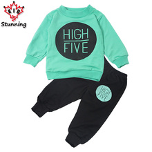 18M-5T Girls Clothing Autumn Baby Boys Girls Sport Suit 2017 Children Boys Clothing Set Toddler New Kids Clothes Tracksuit Set(China)