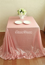 Hot Sale 50 Inches By 50 Inches Square Sequin Tablecloth Birthday Party Supplies Pink Sequin Table Overlays
