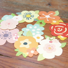 10cm colorful flower style paperboard 3D wall stickers message leaving gift cards 200gsm white paper tags 80pcs(China)