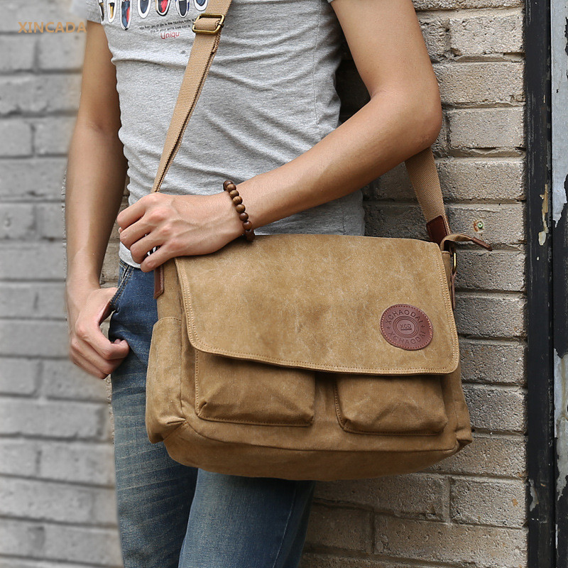 XINCADA cowhide zipper and logo mens 14 Inch canvas laptop bags business shoulder bags casual messenger bags online<br>