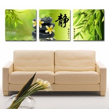 3 Panels Canvas Oil Painting Still Life Bamboo And Stones Wall Poster Pictures For Modern Home Decor Living Room Modular Artwork