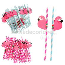25Pcs Wholesale Striped Flamingo Paper Drinking Straws Fun Birthday Wedding Xmas Cocktail Beach Party