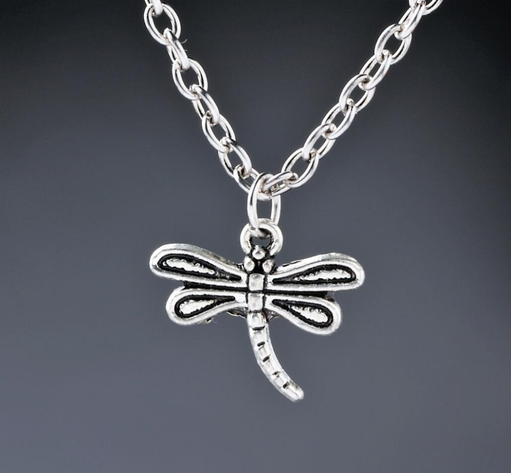 Dragonfly Charms Pendant Necklace Tibetan Silver Zinc Alloy Jewelry Gift(China (Mainland))