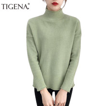 3ae6297d5f TIGENA 2018 Winter turtleneck Sweater Women Jumper Long Sleeve Knitted Warm  Pullover and Sweater Female Pull Femme Black Green