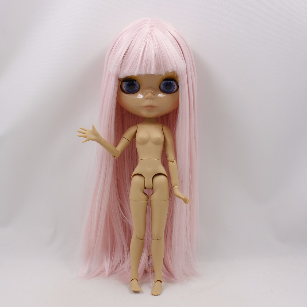 Neo Blythe Doll with Pink Hair, Tan Skin, Shiny Face & Jointed Body 4