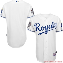 MLB Men's Kansas City Royals Baseball White Authentic Cool Base Jersey with 2015 World Series Champions Patch(China)