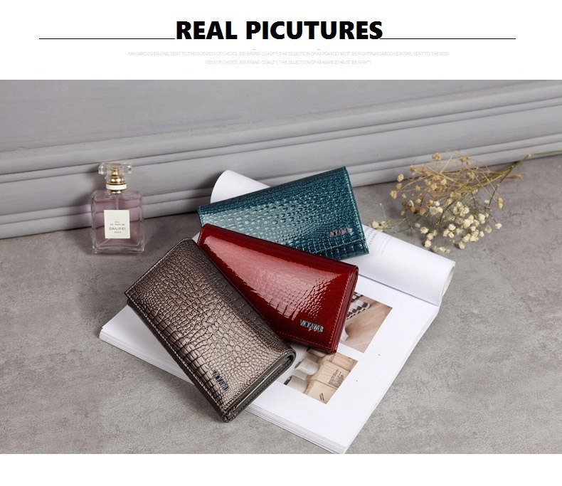 VICKAWEB Genuine Leather Small Wallet Women Wallets Alligator Short Purse Coins Hasp Girls Wallet Fashion Female Ladies Wallets-018