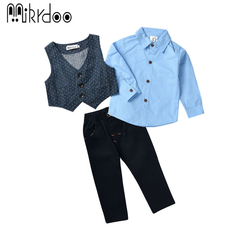 Boys clothes kids gentelman formal vest shirt pants terno texdo children costume wedding suit handsome three pieces set stylish <br><br>Aliexpress