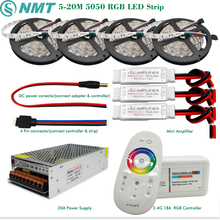 DC12V Led Strip 5050 SMD RGB Waterproof/Non Waterproof Led Light+2.4G RF Remote Controller+Power adapter Kit 5M 10M 15M 20M