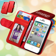 i4 4S Book Flip Card Slot Leather Mobile Phone Case For iPhone 4 4S Retro Wallet Holster With Photo Frame Cover Bag iPhone4 4S