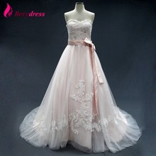 Berydress light Pink Real Photo A-line Soft Tulle Wedding Dress Lace Appliqued mariage Wedding Gowns Chapel tail(China)