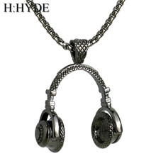H:HYDE Hip Hop Jewelry Men Necklace Stainless Steel Music Headphone Pendant Necklaces Fashion Cool Gifts Mens Jewellery Collier(China)