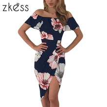 Zkess Boho style beach summer dress women Floral print Ruffle Off Shoulder wrap High Low Dresses Sexy Split Robe vestido LC61572