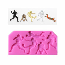 DIY Rugby Silicone Mold Chocolate Candy Silicone Cake Mold American Football fondant mold(China)