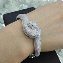 c347 Mosaic Sterling Silver  Panther Shell Clover  Bracelet Women Fashion Fine High Quality Jewelry peacock