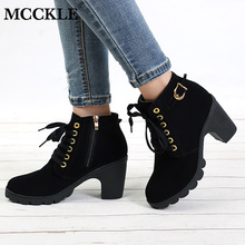 MCCKLE Plus Size Ankle Boots Women 플랫폼 (High) 저 (힐 버클 Shoes 두꺼운 힐 숏 Boot 숙 녀 캐주얼 신발쏙 ~ Drop Shipping(China)