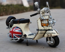 National Flag Classic Motorcycle Model 100% Handmade Old Iron Sheet Model VESPA 1:12 Retro Metal Piaggio Scooter Sheep Motor Kid