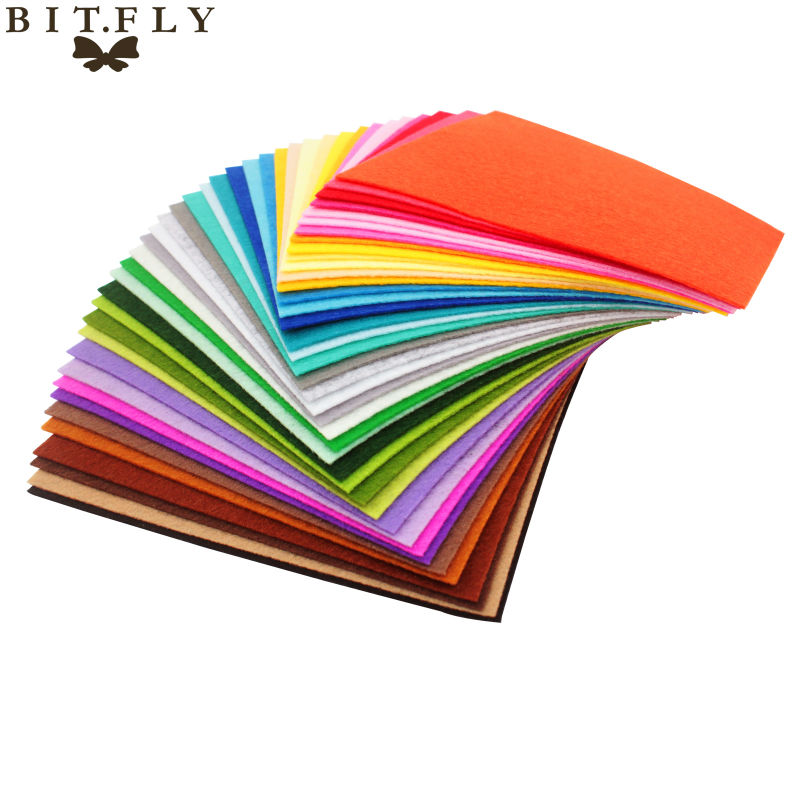 High Quality Mix Colors Non Woven Felt Fabric 1mm Thickness Polyester Cloth Felts DIY Bundle For Sewing Dolls Crafts Free ship