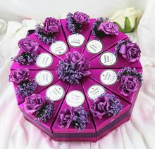 50pcs (5 sets) Wedding Favors white/purple/blue Flower Cake Candy Boxes bowknots party wedding decor Gift Box