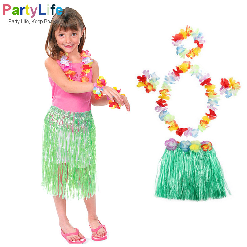5 PCS/Sets Hawaii Party Hula Dance Skirt Dress Garland Adult Child Wreath Accessories Flower Headdress Neck Party Supplies(China)
