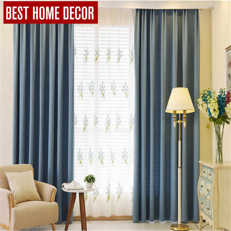 BHD tailor-made modern cloth blackout curtains for window blinds 90% shading blackout curtains for living room bedroom drapes