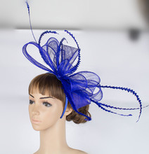 Distinctive color sinamay fascinator headwear colorful mesh feather church show hair accessories millinery cocktail hats MYQ035(China)