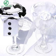Creative Christmas/Weeding/ Party Decoration Bride Groom dress fabric wedding cup sleeve  home gift Wine Glass Flute Covers