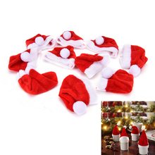 10PCS Christmas Santa Claus Hats Wine Bottle Cover Decor Bag Dinner Party Table Decoration Xmas New Year Ornaments Supply