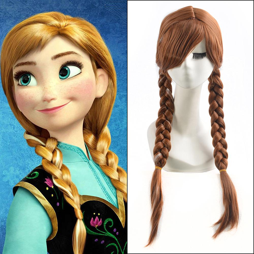 70cm Dark Brown Long Straight Anime Princess Anna Cosplay Harajuku Womens Wigs Cheap Braided Synthetic Hair Women Wig For Adult<br><br>Aliexpress