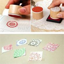 6pcs/SET Assorted Retro Vintage Floral Flower Pattern Round Wooden Rubber Stamp Scrapbook DIY(China)