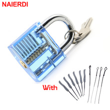 NAIERDI Blue Transparent Pick Cutaway Practice Padlock Lock With Broken Key Removing Hooks Lock Extractor Set Locksmith Tool