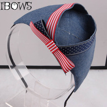 1Pc Fashion Hairbands Cute American Flag Denim Fabric Hats Headband Tiara Headwear Hair Accessories For Girl