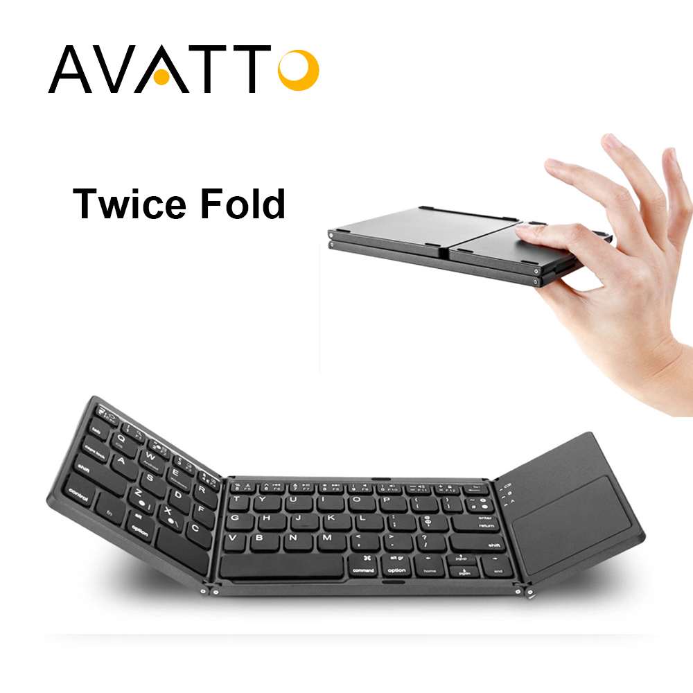 [AVATTO] Aluminum Protable A18 Bluetooth Folding Keyboard Twice Foldable Wireless Touchpad For Keypad IOS/Android/Windows Tablet(China (Mainland))