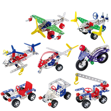 High Quality Metal Toy Kids Building Block Set DIY Vehicle Lift Truck Motorcycle Creative Metal Building Kit Gifts For Children