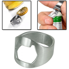 5x Silver Stainless Steel Metal Finger Thumb Keyring Ring Beer Bottle Opener Bar(China)