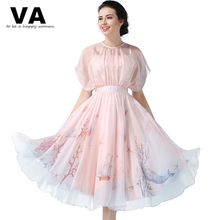 VA New 2017 Spring Summer Classic Women Dress Romantic Dresses Casual Party Dress Pink Print Elegant Knee-lenth Dress XL PT00949