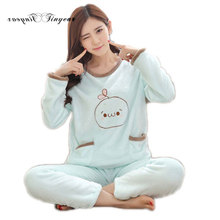 New family pajama set character full sleeve round neck pajamas suit plus size women night suit 2 colors optional