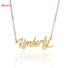 "AOLOSHOW Women Necklace Name Letters Necklace Gift Script "" Kimberly "" Gold & Silver color initial Nameplate Necklace ,NL-2418"