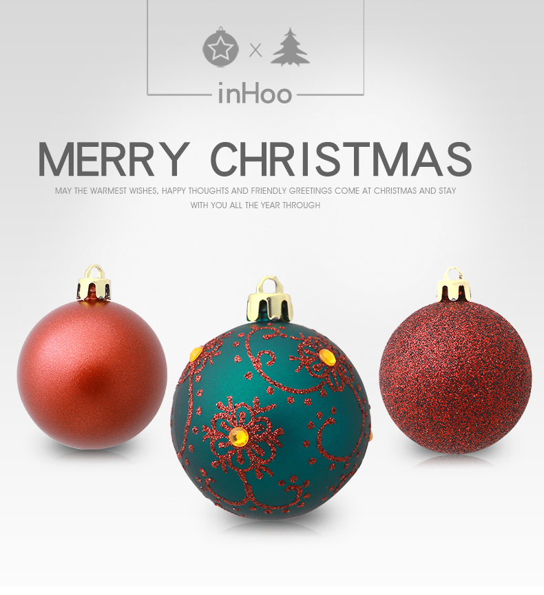 01 inhoo 6cm Christmas tree decorations Balls Ornaments Pendant 20pcs Red green white gold Ball Accessories For Home Xmas Party Hot