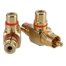 Gold Plated 1 Male to 2 Female RCA Splitter Adapter AV Video Audio Right Angle Pack of 2