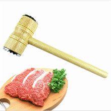 Hight Quality Wood Hanle Knock Meat Hammer Double Slider Meat Hammer Steak Hammer Kitchen Cooking Tool