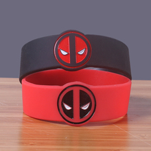 Red black Spiderman silicone bracelet Marvel cotton silicone wristband Debossed head rubber bangle Soft rubber band(China)