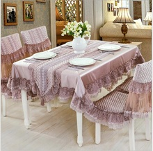 Purple High end luxury Lace floral tablecloth set suit 130*180cm table cloth matching chair cover 1 set price free ship(China)