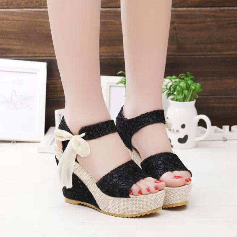 2017 Summer Roman wedge sandals womens platform shoes lace bowknot flat small round head with hot style sandals<br><br>Aliexpress