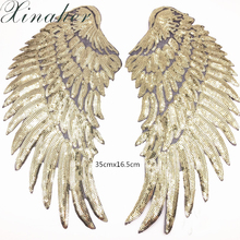 XINAHER Sequins Patches DIY Angel Wings Patches For Kids Clothes Sew-on Embroidered Patch Motif Applique Sticker For Cloth 1Pair