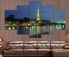 Eiffel Tower 5 Panel Modern Wall Art Home Decoration Living Room Special hot European painting pictures print on canvas