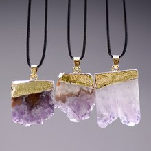 Vintage Gold& Natural Necklace Irregular Natural Stone Quartz Pendants Necklace Women Fashion Jewelry(China)