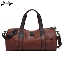 Men's Leather Handbag Cylindrical Travel Large Capacity Bag Black Solid Zipper Pouch Lazy Shoulder Tote Bolsa Male Duffle Bag