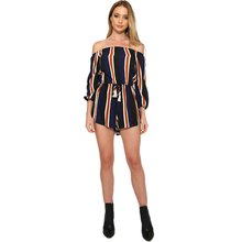 Women Strapless Collar Striped Short Jumpsuit Playsuit Summer Beach Casual Overalls Girls Jumpsuit Shorts