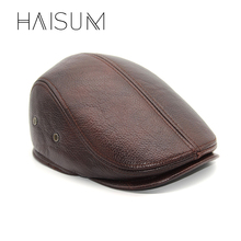 Haisum New Design Men's 100% Genuine Leather Cap Brand Newsboy /Cabbie Hat/baseball Winter Warm Hats With Ears CS11(China)